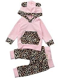 BBsmile Ropa de bebé Bebé recién Nacido Estampado Leopardo con Capucha Tops + Pants Conjunto de