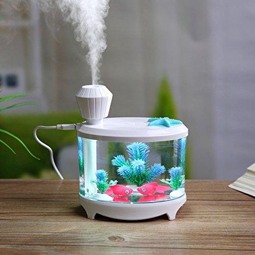 efanr Mini-Aquarium Luftreiniger Luftbefeuchter mit LED Nachtlicht Fisch Schalen Aquatic Pets Home Decor 460ml Ultraschall Mist Maker Air Luft-Aroma Luftreiniger für Home Schlafzimmer Büro Auto weiß