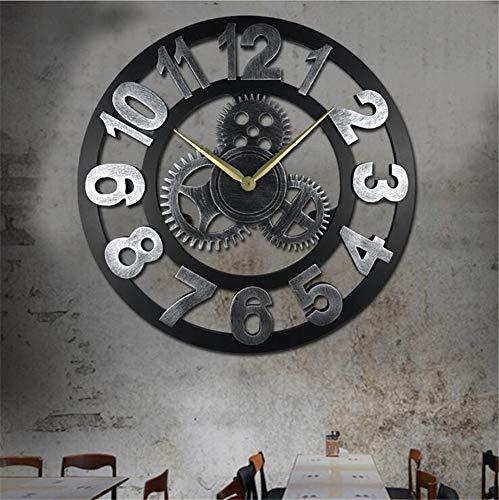 Framy 23,6-Zoll-Wanduhr, Große Größe Rustikale Wanduhr Mit Getriebe Dekorative Vintage Uhr Für Drinnen Und Draußen,c,60cm (Mit Große Wanduhr Getriebe)