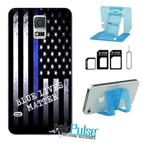 tekpulse (TM) Polizei Blau Leben Egal Echt Leder TPU Handy Fall zurück & Nano Sim Card Adapter & klappbar Handy Stehen-[Bundle Pack, 3Pcs]-Direct Print Technologie, Samsung S5