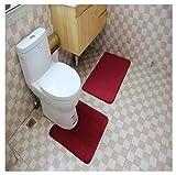 Kong EU 2-teiliges Badematten-Set, Rutschfest, aus Memory-Schaumstoff-Set, WC-Teppich weinrot
