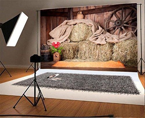 YongFoto 3x2m Vinyl Foto Hintergrund Alte Scheune Mit Strohballen Bauernhof Landschaft Fotografie Hintergrund für Fotoshooting Portraitfotos Party Kinder Hochzeit Fotostudio Requisiten
