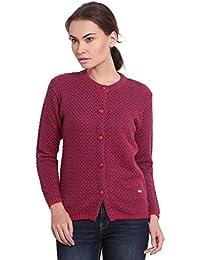 TAB91 Women's Pink/Blue Self Design Round Neck Sweater