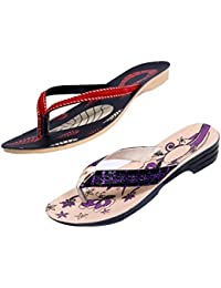 Indistar Women Comfortable Flip Flop House Slipper And Sandal-Cream/Purple/Black+Red- Pack Of 2 Pairs