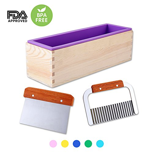 1 Pcs Flexible Rectangular Silicone Soap Mold with Large Pine Wood Box for Homemade Produce 1.2 Kg Art Craft Soap Making Mold + 2 Pcs Cutter Peeler Slicer Knife Home Kitchen Tool Set (Purple)