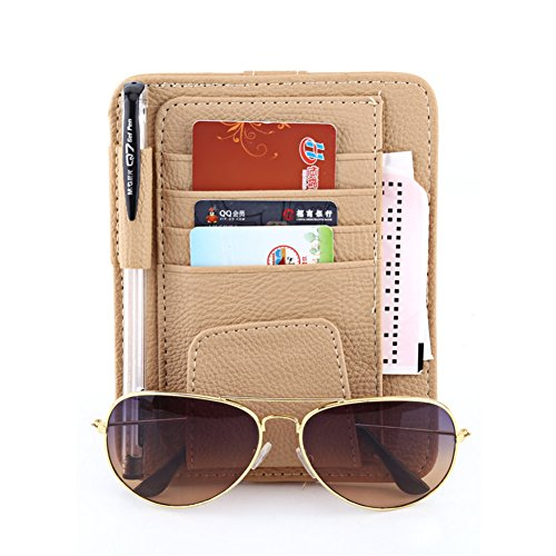 Sonnenbrillen- und Kartenhalter mit Klipp, Multifunktions Gläser Karten Sonnenbrille Halter Echt Leder Schutzhülle Halterung Tasche für Auto Fahrzeug LKW Sun Visor Organizer von DUBENS® (Beige)
