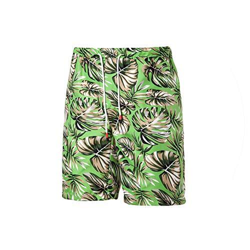 Swimming Men Shorts New Printed Loose Drawstring Beach Summer Board Casual Plaid Board Short Mens,green-K01,XL -