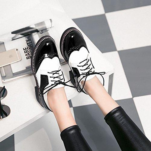 MissSaSa Femmes Derbies Chaussures Loisir Talons Petit Noir