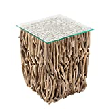 Riess Ambiente Massiver Treibholz Couchtisch Fossil 40cm Handarbeit mit Glasplatte Tisch Beistelltisch