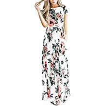 Lover-Beauty Vestido Largo Floral Print Casual Verano para Noche Fiesta Playa Fiesta Sin Hombro