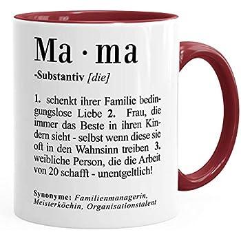 Geschenk Tasse Mama Definition Dictionary Wörterbuch Duden Muttertagsgeschenk Moonworks Mama Bordeauxrot Unisize
