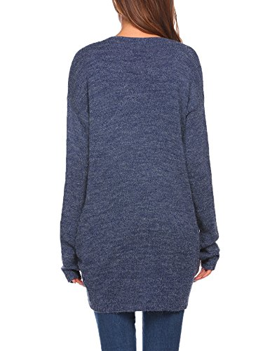 Meaneor Damen Cardigan Strickjacke Pullover Mantel Outwear Tops Strickmantel Strick Loose Hersbt Winter mit Tasche Blau
