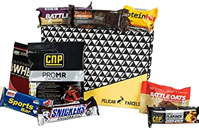 Protein Selection Fitness Gift Box - 9 Items - Grenade Reload Flapjack, Gold Standard Whey, CNP Professional Pro MR, Battle Oats Recovery Bar, Snickers Protein Bar And More - Hamper Exclusive To Pelican Parcels by Pelican Parcels