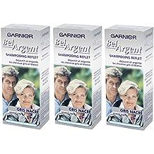 Garnier - Bel Argent - Shampooing déjaunisseur Reflet - Reflet gris nacré déjaunit cheveux gris blancs Lot de 3