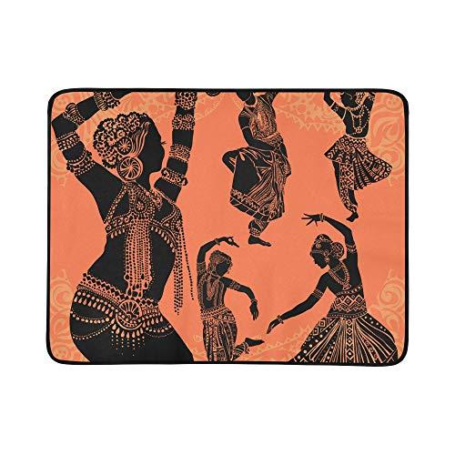 WYYWCY Schöne Schwarze afrikanische Frau Muster tragbare und Faltbare Deckenmatte 60x78 Zoll handliche Matte für Camping Picknick Strand Indoor Outdoor Reise (Traditionelle Tanz Kostüm Von Indien)