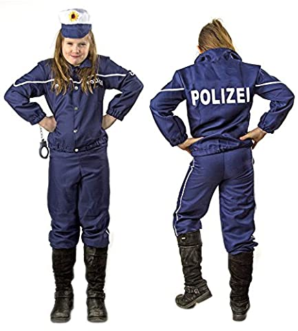 Kinder Polizei-Uniform Kostüm Karneval Fasching Set Hut Mütze Jacke Hose Blau Ausrüstung Verkleidung FBI SWAT