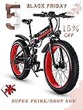 XXCY 1000W Mountain Ebike des elektrischen Fahrrad fährt 26 Zoll fetten Reifen-Straßen-Fahrrad-Strand/Sch (rot)