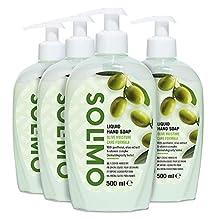 Amazon-Marke: Solimo Flüssige Handseife - Oliven-Feuchtigkeitspflegeformel- 4er-Pack (4 Flaschen x 500ml)