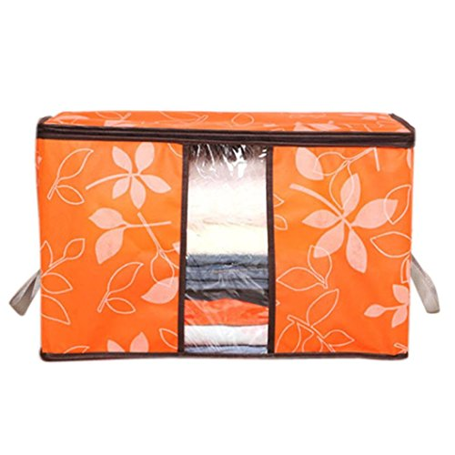 Price comparison product image LHWY Storage Organization/Designer Flower Printed Quilt Storage Bags/See-through Collapsible Storage Bags (A, Orange)