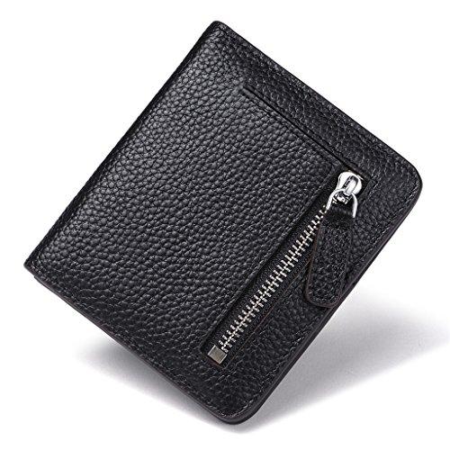 JEEBURYEE Portefeuille Femme Cuir Véritable Petit porte monnaie Porte Carte de Crédit avec Blocage RFID Portefeuille Compagnon Noir