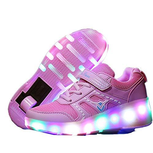 Zapatillas de deporte de moda LED para niños, niñas y niños, ruedas con ruedas, zapatos de skate, cómodos, zapatos de rodillo de superficie de malla, Día de Navidad, Día de Acción de Gracias, el mejor