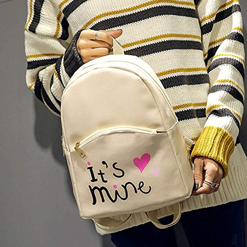 Bizarre Vogue Cute Medium It's Mine Printed Style Backpack College bag for Girls (Cream,BV1210) Image 3