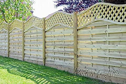 Alzira Premium Decorative Fence Panel with Wave Lattice Top - Hit & Miss design - 1.80m Wide x 1.05m Height (Pack of 3 panels)