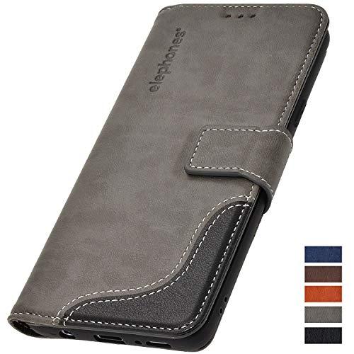 elephones Schutzhülle kompatibel mit Samsung Galaxy S8 Hülle Handyhülle Handy-Tasche Wallet Case Cover Grau