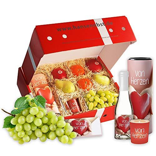 Obstbox Von Herzen mit frischem Obst, einer Flasche Prosecco, Schokolade und einem Teelicht in klassischer Geschenkbox (Obst Korb Mit Frischem)