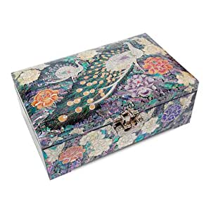 Wooden Jewellery box, lacquer mother of pearl jewelry case with mirror, Handmade oriental gift. Luxurious Peacock
