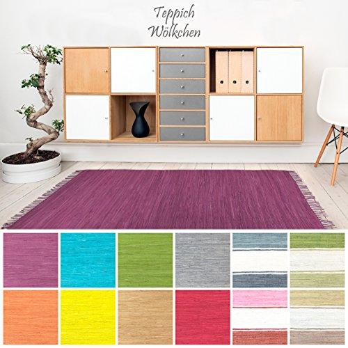 Handweb Flicken-Teppich aus Baumwolle | Geflochtene Indische Fleckerl Kelim Teppiche fürs Wohnzimmer, Küche, Schlafzimmer, Bad oder Flur Läufer| Einfarbig Bunt (Violett, 70 x 140 cm) -