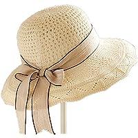 Leisial Hueco Sombrero Playa Paja de Viajes Vacaciones Verano Gorro Estilo  Británico Sombrero Modelos de Pareja 0476ac4d195