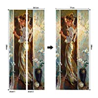 JJH Oil painting stickers on the doors bedroom bathroom pvc waterproof removable Self Adhesive wallpaper mural home decor 77x200cm