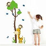 Wallpark Karikatur Niedlich Giraffe Vögel & Affen Kletterei Baum, Höhe Messlatte Abnehmbare Wandsticker Wandtattoo, Kinder Kids Baby Hause Kinderzimmer DIY Dekorativ Kunst Wandaufkleber