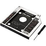 Zheino 9,5mm Aluminio Bahía de disco duro 2.HDD SATA-SATA 3.0 (SATA I II III) HDD / SSD / Hard Drive Caddy (2nd HDD) / módulo SSD (9,5 mm) Universal portátil de CD / DVD-ROM para Notebooks sustituye SuperDrive