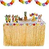 Yukio Festival - Hawaii Luau Tischröcke,HawaiianGrass Table Skirt mit Seidenblumen für BBQ Tropischen Garten Strand Sommer Tiki Party Dekoration