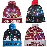 Alian Sombrero de luz LED Beanie Sombrero de Punto Gorro navideño Gorro, Sombrero de Invierno con Nieve Suéter Sombrero de Fiesta Feo Gorro de Gorro LED Light Up Christmas Novelty Hat