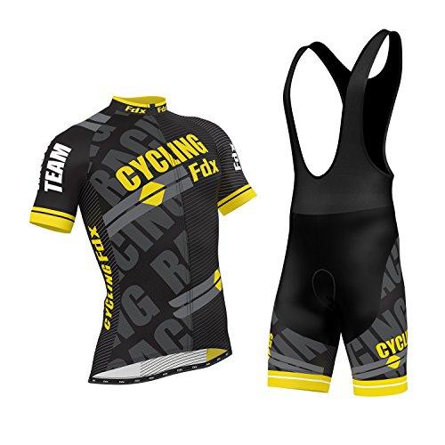 FDX Pro Cycling Herren-Rennradanzug, Jersey, 3/4-Ärmel, Team Cycling Fdx Oberteil + gepolsterte 3D-Gel-Trägershorts, gelb, M (Pro Team Bib Shorts)
