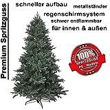 150 cm exklusiver, hochwertiger künstlicher PE Luxus Weihnachtsbaum, 100% Spritzgussnadeln ca. 2375 Spitzen, mit Metallständer, Minutenschneller Aufbau mit Klappsystem, schwer entflammbar, HXT 1418 - 3