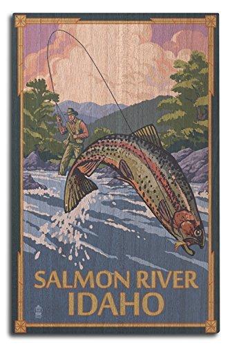 Salmon River, Idaho-Fly Angeln Szene, holz, mehrfarbig, 10 x 15 Wood Sign