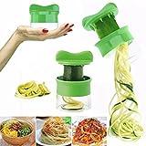 HHS Affetta Verdure Frutta spirale, e pelapatate grattugia per verdure, utensili da cucina a forma di Spirali per piatti Sanos y creativi, Attrezzo della cucina professionale: Verde