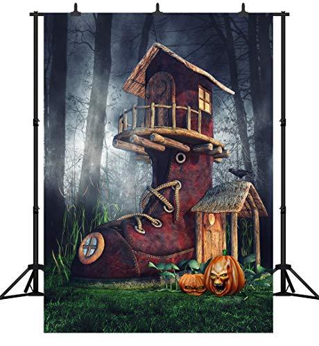 GzHQ PGT254A Fotohintergrund, 150 x 210 cm, Halloween-Design, Kürbis-Laterne, personalisierbar, nahtlos, Vinyl, Fotohintergrund