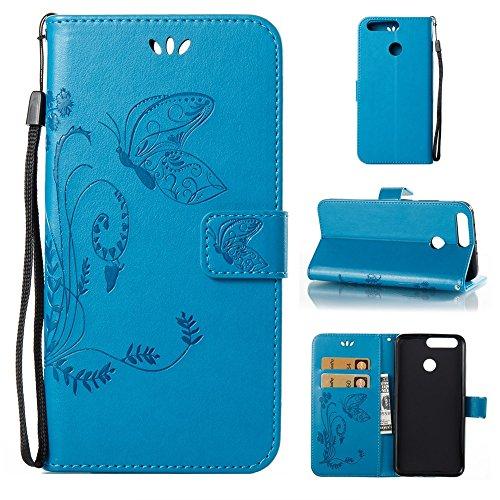 EKINHUI Case Cover Horizontale Folio Flip Stand Muster PU Leder Geldbörse Tasche Tasche mit geprägten Blumen & Lanyard & Card Slots für Huawei Hornor V9 ( Color : Gray ) Blue