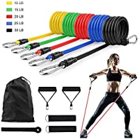Exercise Resistance Bands Home Gym Equipment Workout Set 11 Piece With Fitness Tubes Foam Handles Elastic Pull Rope Resistance Loop Ideal for Crossfit Tummy Stretching Toning Yoga Bands For Men Women