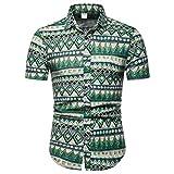 b32173f9e FRAUIT Camisa de Manga Corta de ImpresióN de Solapa de ImpresióN de Moda de  Los Hombres