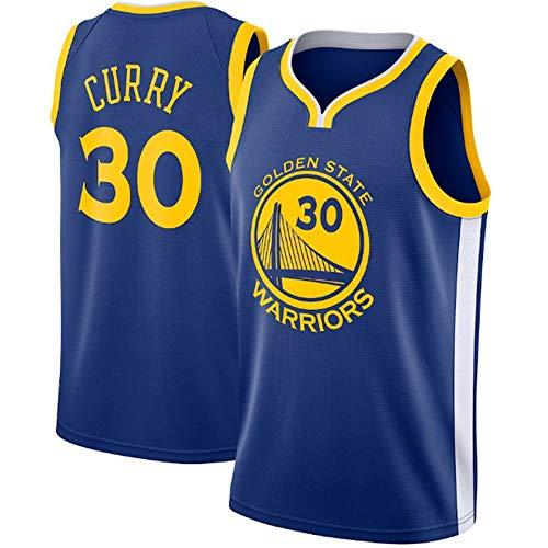 Stephen Curry # 30 Herren Basketball Trikot - NBA Warriors, New Fabric Embroidered Swingman Jersey Ärmelloses Shirt Blue-L (Stephen Curry Swingman Jersey)