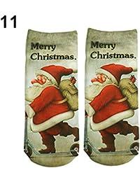 Nordira - Calcetines de Navidad con diseño de Papá Noel y muñeco de Nieve para Mujer