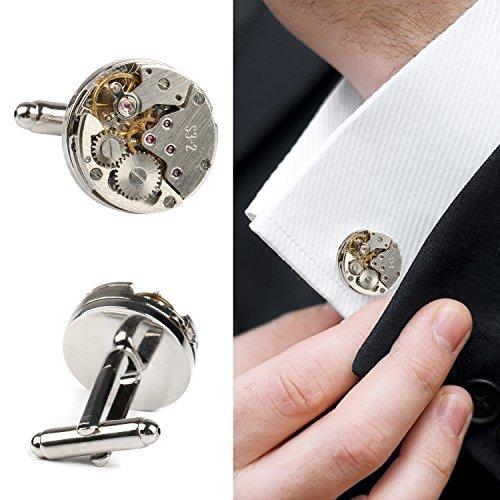 Amile Manschettenknöpfe für Herren, Deluxe Manschettenknöpfe Uhrwerk Einzigartiges Design Herren Manschettenknöpfe Business Hochzeit Geburtstag Geschenk (Hochzeit Personalisierte Kleidung)