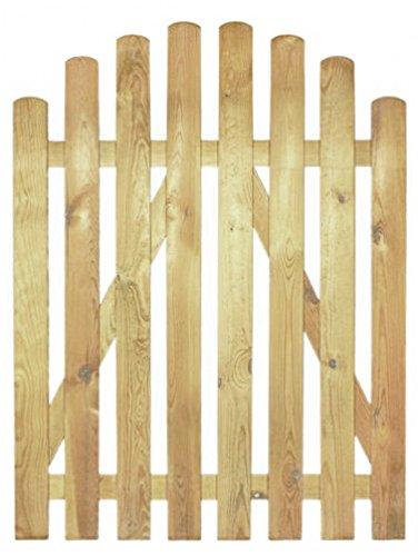 StaketenTür 'Premium' 100x120/140 cm - oben – kdi / V2A Edelstahl Schrauben verschraubt - aus getrocknetem Holz glatt gehobelt – oben gebogene Ausführung - kesseldruckimprägniert