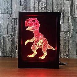 IMFFSE 3D Marco De Fotos LED, 3D Ilusión LED Luz De La Noche, Dinosaurio Creativo 7 Colores Graduales Cambiante Lámpara De Mesa Escritorio Deco Lámpara Decoraciones para El Dormitorio